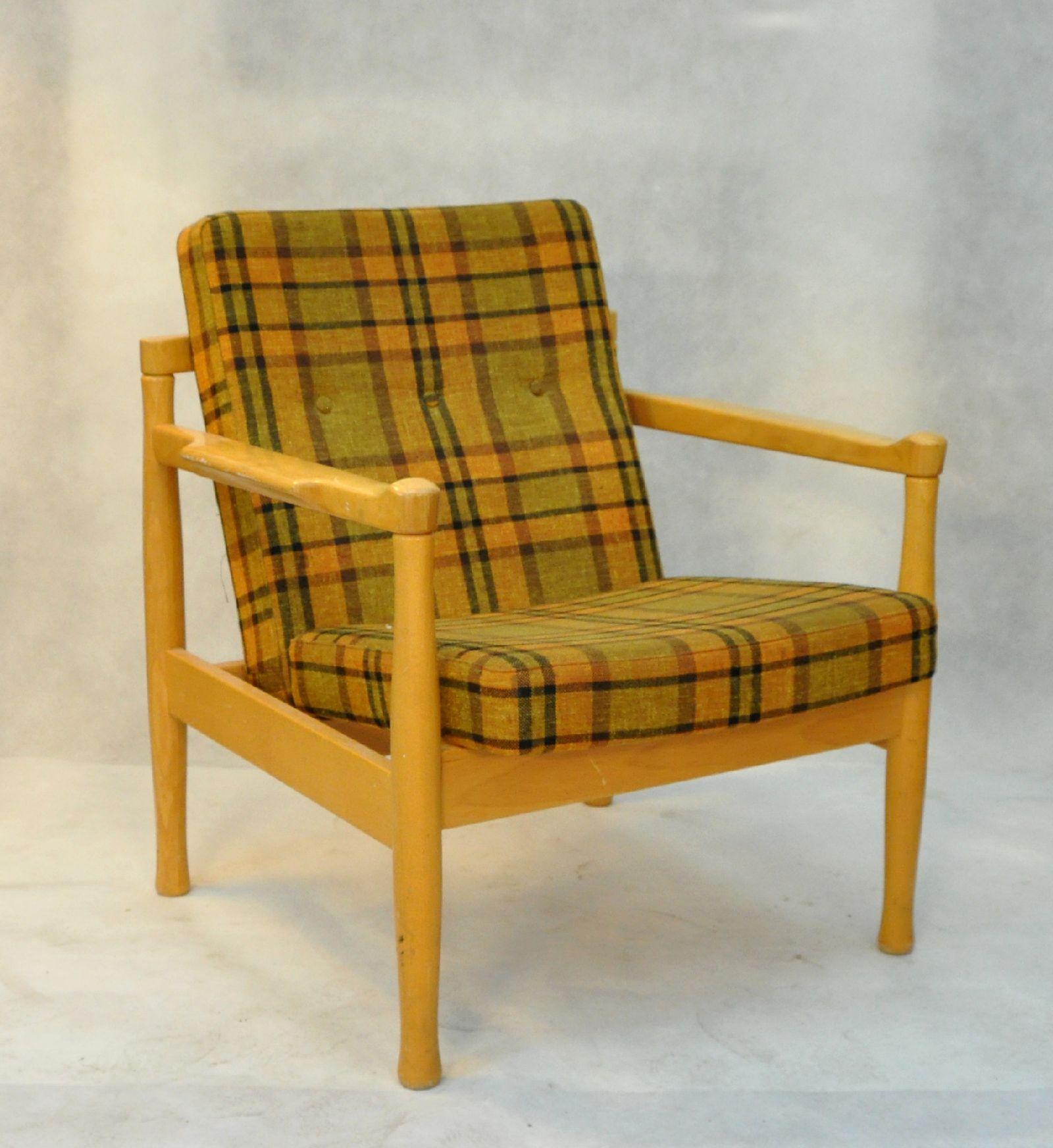 Fotel Brzozowy Z Lat 70 Tych